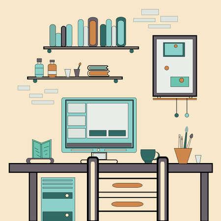 espacio de trabajo: Ilustraci�n vectorial de dise�o plano de la oficina creativa moderna o espacio de trabajo en casa, lugar de trabajo con el ordenador.