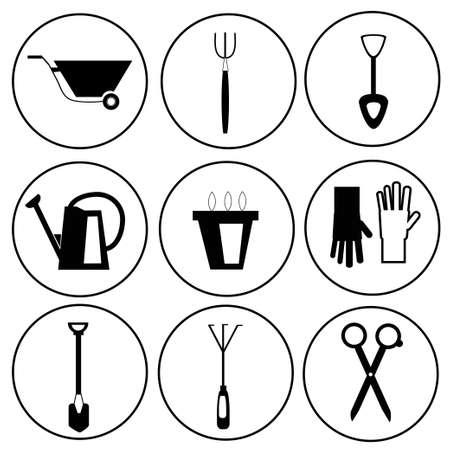 Black and white  gardening tools icon set