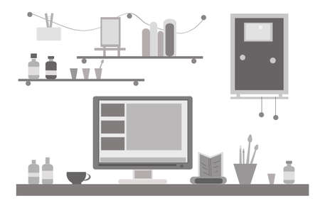 computer art: Black and white flat design vector illustration of modern creative office or home workspace, workplace with computer.