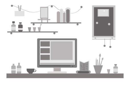 monitor de computadora: Ilustración plana diseño vectorial blanco y negro de la oficina creativa moderna o espacio de trabajo en casa, lugar de trabajo con el ordenador.