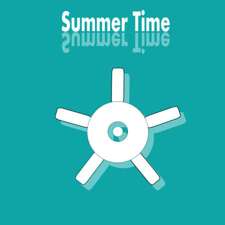 summer time: Summer time poster with white wheel Illustration
