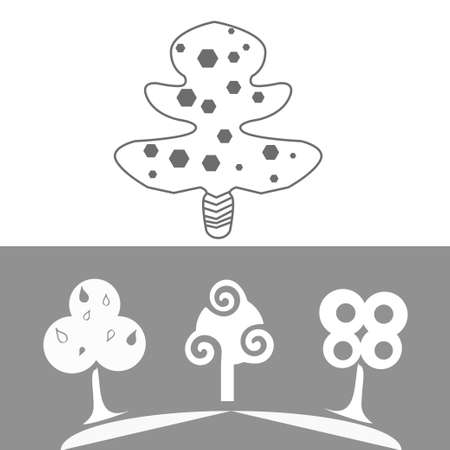 outline gray and white decorative flat trees Vector