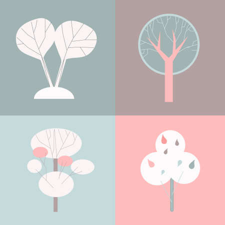 flat icons of different trees Vector