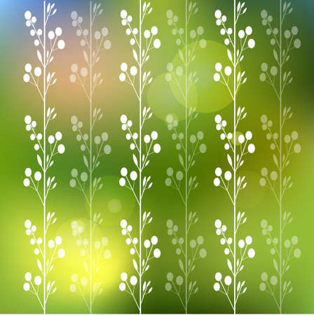 Beautiful  floral blurred background with flowers and leaves Vector