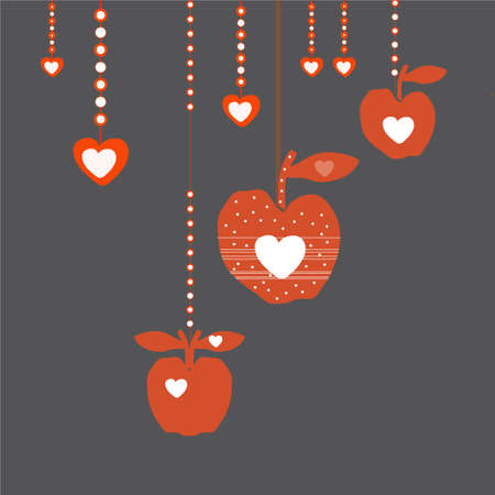 red apples: Red apples with hearts inside