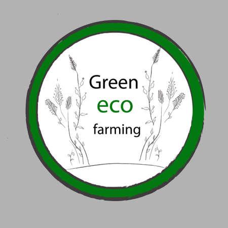 homestead: Green organic eco farming vector label. Fresh Healthy Food