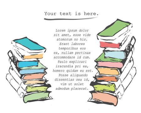 Pile of books. Hand drawn vector illustration