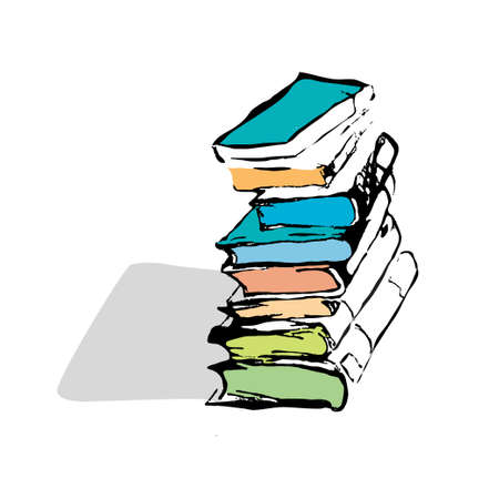 a literary sketch: Pile of books. Hand drawn vector illustration