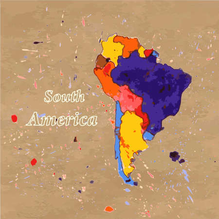 kraft paper: Vector watercolour  map of South America on the brown kraft paper background. Illustration