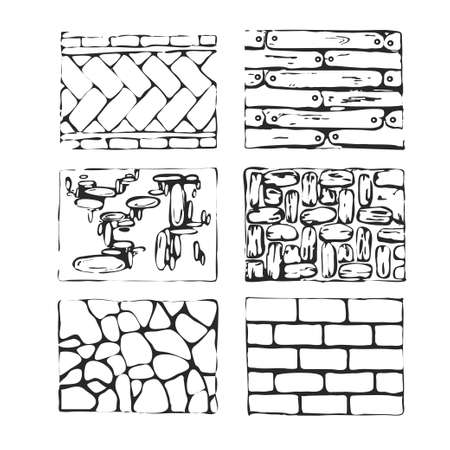 cobblestone street: Hand drawn paving stones and blocks. Detailed landscape design elements.Top view.  Eight type of paving stone