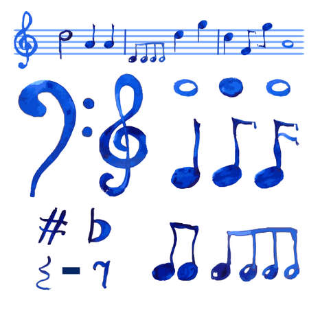 g clef: Watercolor blue  musical notes set.Treble clif and G clef, and different notes on the white background.Hand drawn set.