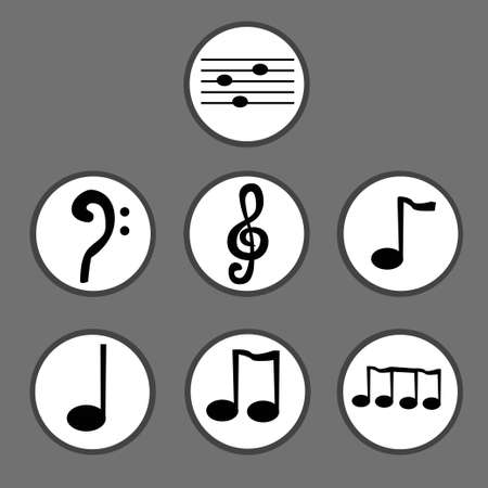 crotchets: Hand drawn black icon set of musical notes.