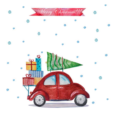 Winter watercolor greeting card with red retro car, Christmas tree on the roof and colorful presents,.Vintage Merry Christmas and Happy New Year illustration.Postcard, poster, invitation template.