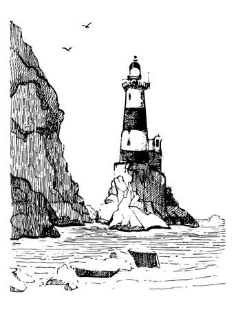 Sea landscape with a lighthouse. Sea hand drawn sketch illustration. Engraving poster for a children's room. Beacon Aniva Russia. Vetores