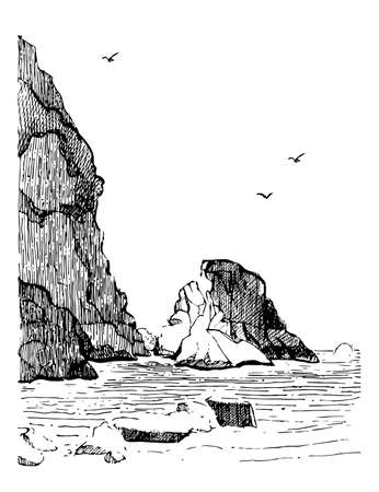 Sea landscape with water and rocks . Sea hand drawn sketch illustration. Engraving poster.
