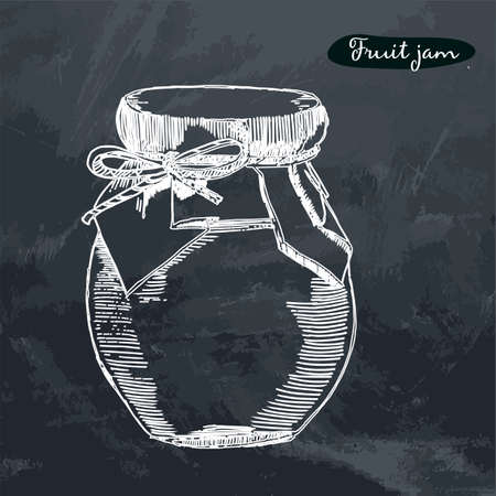 Vector hand drawn Illustration with jar full of fruit jam,isolated on the grunge background. Sketch dishes. Hand drawn style. Homemade marmelade food.