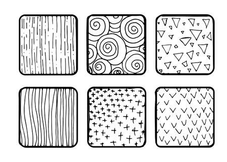 Set of hand drawn textures. Grungy hand drawn lines and frames, stains, dots, stripes. Sketched, doodle style illustration.