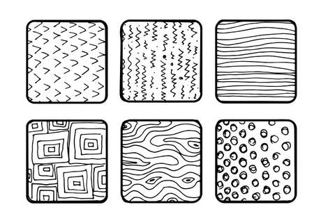 Vector pen textures set. Artistic collection of vector design elements tiles, dots, bubbles, brush strokes, paint dabs, wavy lines, abstract backgrounds, stippling patterns made with ink. Sketched, doodle style