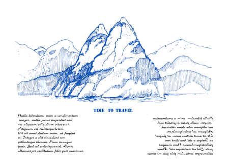 Mountain landscape sketch illustration.Engraved hand drawn ilustration with mountain,forest on it.Great for travel, hiking, tourism, trekking business promoting.Pen illustration with place for your text.