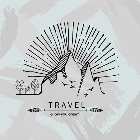 Travel hand drawn illustration.Sketch of mountains,trees,sunset and birds. Print and packaging vector design.Retro emblem of tourism and alpinism.Engraving style. Ilustração Vetorial