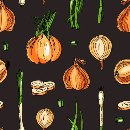 Onion seamless pattern. Hand drawn vector illustration.Detailed retro style sketch.Kitchen background of herbal spice and food ingredient.Onion, isolated cooking object.