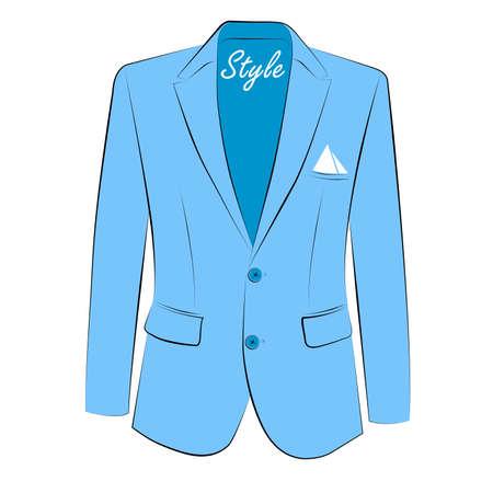 Stylish suit .Blue jacket .Men's clothing vector.