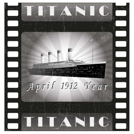 Cruise liner vector .Old film strip .Retro movie.