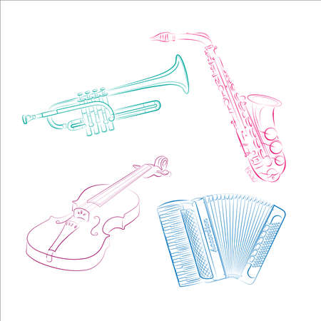 Musical instruments. Violin, saxophone, trumpet, accordion .Vector illustration.