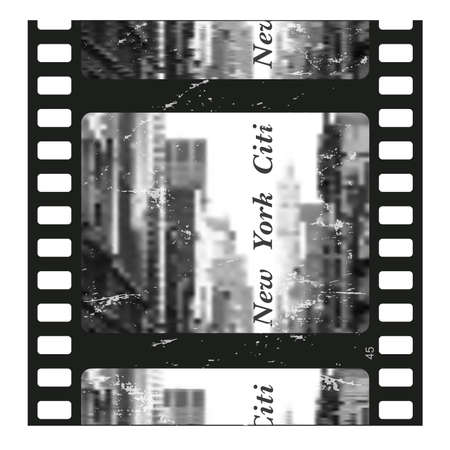 New York City. Old film strip .Vector illustration.