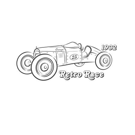 Retro race drawing .Car on a white background. Retro auto .Vector illustration.