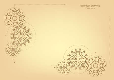 Rotating gears. Technical background, retro. Drawing, vector.
