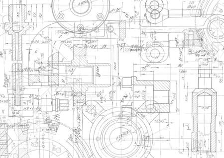 Technical drawing background .Mechanical Engineering drawing, vector