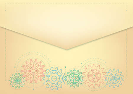 Rotating gears. Technical background, retro. Drawing, vector. Ilustracja