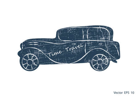 Retro Car illustration, vector. Old car silhouette.