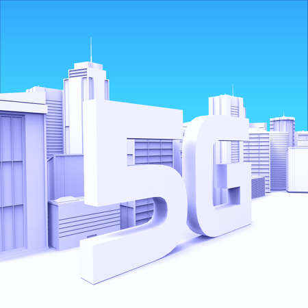 5G Technology .3D rendering - Illustration. High Speed Internet. City skyscrapers.