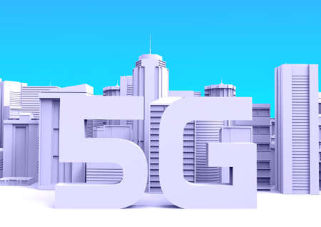 5G Technology .High Speed Internet .City skyscrapers, 3D rendering - Illustration.