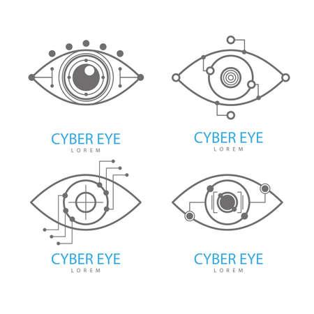 Eye Scanner Logo Set. Cyber eye on a white background. Electronic nanotechnology. Technologies of the future. Vector illustration.