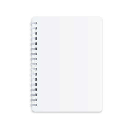White notebook on a white background .Paper mocap for inscription .Business diary .Vector, Illustration.