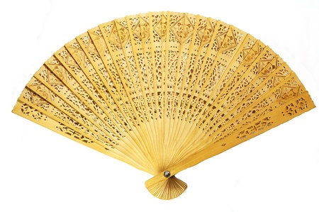 Cloes view of fully stretched wooden japanese fan