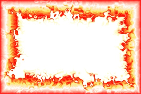 Frame with flames of plasma and a white background