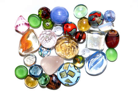 A small diverse and colorful glass jewelry