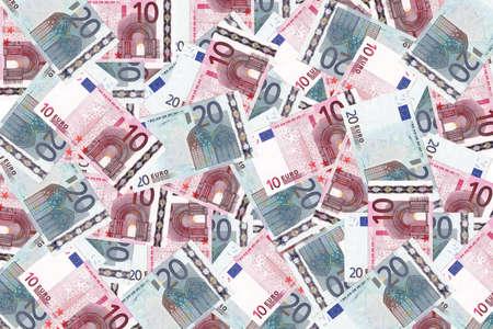 Background with money european twenty euro and  ten euro banknotes