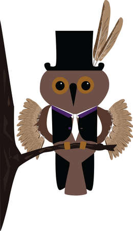 Comic vector image of a little owl