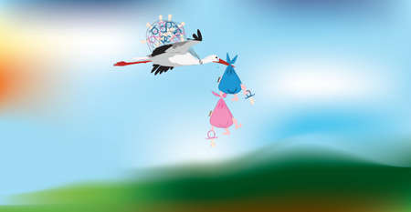 Comic vector image of a stork carrying two twins Vector