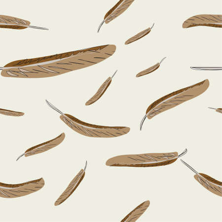 Vector seamless abstract background with feathers