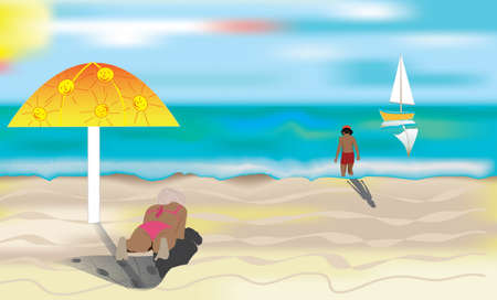 A sunny beach, resting woman and child. Vector illustration
