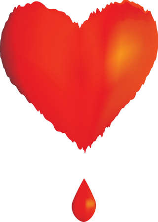 Illustration with a red heart and a drop of blood Vector
