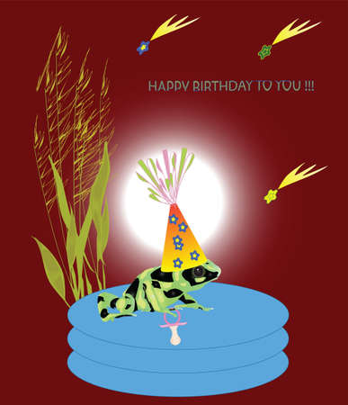 A greeting birthday card with a green frog. Vector illustration.
