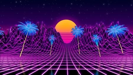 80s retrowave neon landscape. Tropical palms on low poly terrain. 3d render