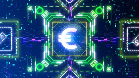 Euro currency symbol animation on digital background. Finance and business. 版權商用圖片